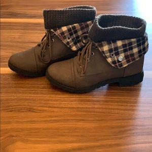 Women's Brown and Plaid Leather Ankle Boots